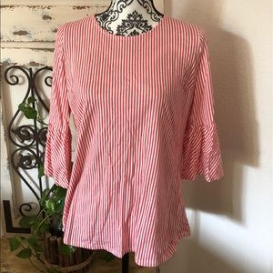 Soft surrounding coral pink ruffle sleeve top